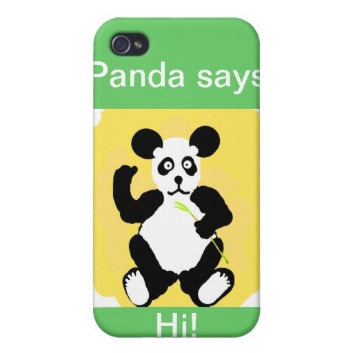 ¡la panda dice hola! iPhone 4 cárcasa