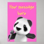 La panda linda 3d canta con un Mic (editable) Poster