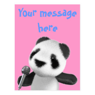 La panda linda 3d canta con un Mic (editable) Postales