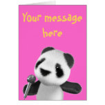 La panda linda 3d canta con un Mic (editable) Felicitaciones