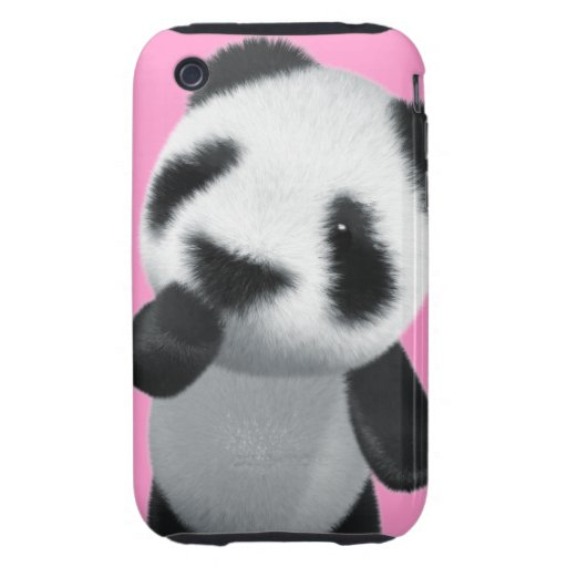 La panda linda 3d piensa (editable) iPhone 3 tough carcasas