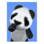 La panda linda 3d piensa (editable) postales