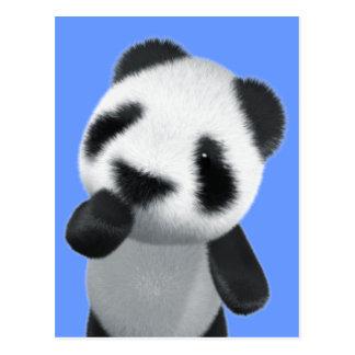 La panda linda 3d piensa (editable) tarjeta postal