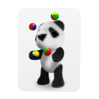 La panda linda del bebé 3d hace juegos malabares imanes