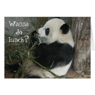¿La panda, quiere hacer el almuerzo? tarjeta
