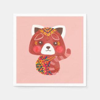 La panda roja linda servilletas desechables