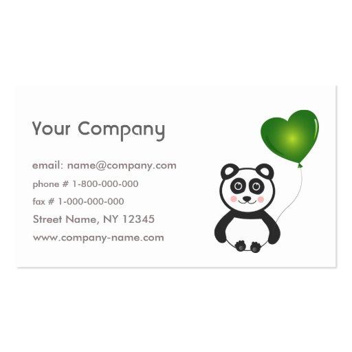 La panda va tarjeta de visita verde