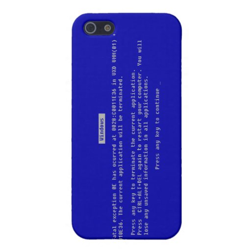 La pantalla azul del ordenador de la muerte iPhone 5 cobertura