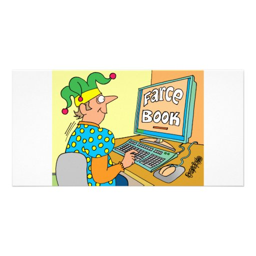 """La pantalla de ordenador del bufón lee como """"libro tarjeta fotográfica personalizada"""