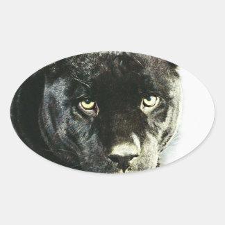 La pantera negra de Jaguar observa a los pegatinas Pegatina Ovalada