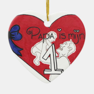 la papá es el nummer 1 del mijn adorno navideño de cerámica en forma de corazón