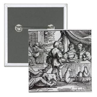 La parábola de Lazarus y de zambullidas Pin Cuadrada 5 Cm