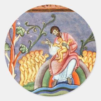 La parábola del folio del hombre rico y de Lazarus Pegatina Redonda