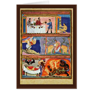 La parábola del folio del hombre rico y de Lazarus Tarjeta De Felicitación