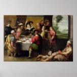 La parábola del hombre rico y del Lazarus Póster