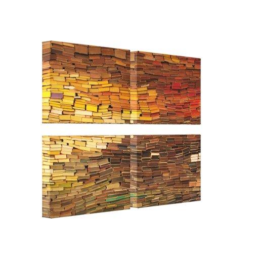 La pared de libros envolvió la lona lienzo envuelto para galerías