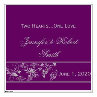 La pared floral púrpura y de plata del boda de la vinilo decorativo