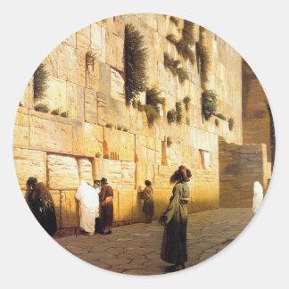 La pared Jerusalén Jean-León Gerome de Soloman Pegatina
