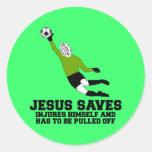 La parodia Jesús ateo ahorra Pegatina Redonda