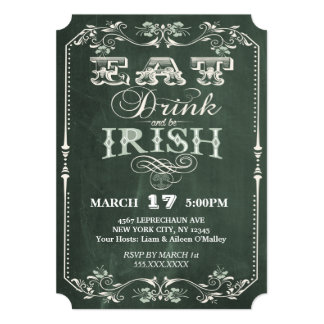 """La parte del irlandés come la bebida y sea pizarra invitación 5"""" x 7"""""""