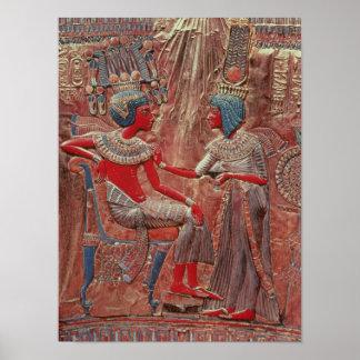 La parte posterior del trono de Tutankhamun Póster