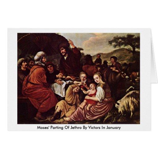 La partida de Moses de Jethro de los vencedores en Felicitación