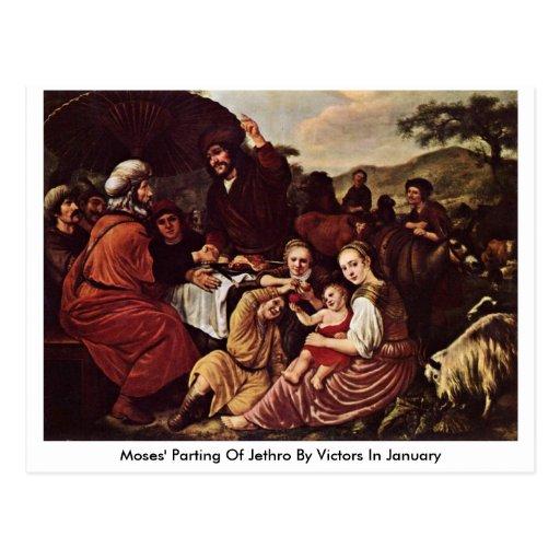 La partida de Moses de Jethro de los vencedores en Tarjeta Postal