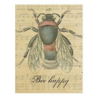 La partitura de la abeja del vintage observa feliz postal