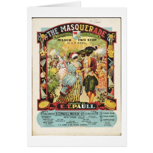 La partitura de la mascarada, tarjeta de felicitac