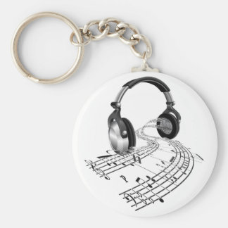 La partitura de los auriculares observa concepto llavero redondo tipo pin