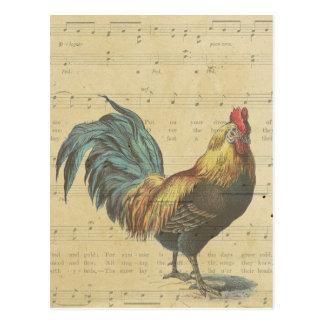 La partitura del gallo del vintage observa el país postales