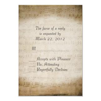 La partitura RSVP para el boda a juego invita Invitación 8,9 X 12,7 Cm