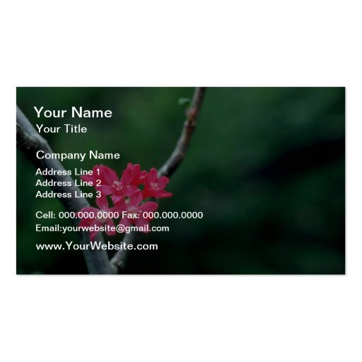 La pasa roja florece las flores tarjetas de visita