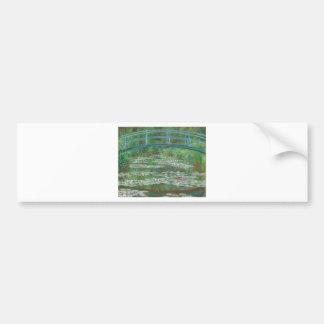 La pasarela japonesa de Claude Monet Etiqueta De Parachoque