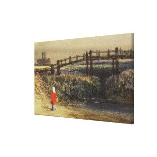 La pasarela (paisaje con la capa roja) (w/c y lienzo envuelto para galerias