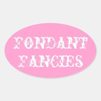 La pasta de azúcar desea al pegatina oval rosado