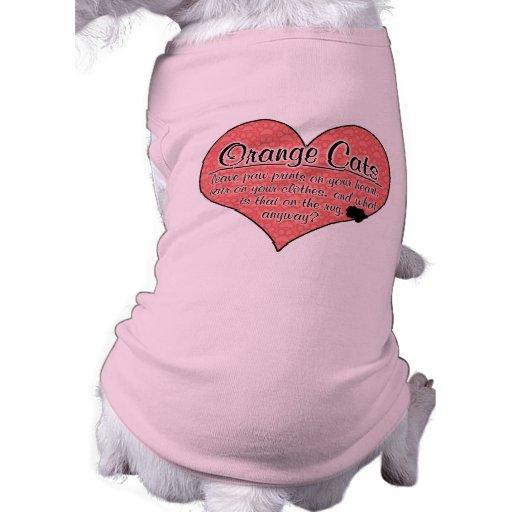 La pata anaranjada del gato imprime humor camiseta de perrito