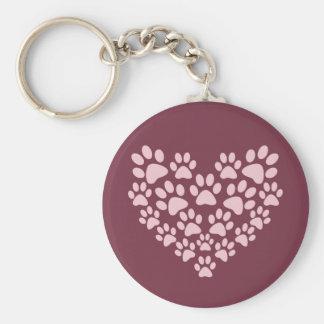 La pata animal rosada imprime diseño del corazón llavero redondo tipo pin