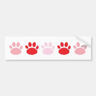 La pata animal rosada y roja imprime el día de San Pegatina Para Auto
