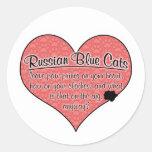 La pata azul rusa imprime humor del gato pegatinas redondas