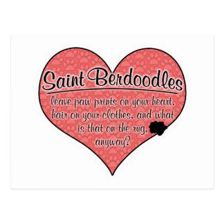 La pata de Berdoodle del santo imprime humor del p Tarjeta Postal
