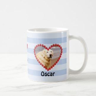 La pata de encargo de la foto del perro imprime el taza de café