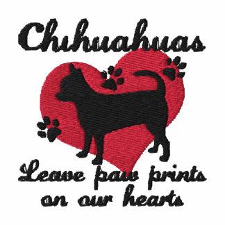 La pata de la licencia de las chihuahuas imprime a polo bordado de mujer