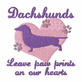 La pata de la licencia de los Dachshunds imprime Polo Bordado De Mujer