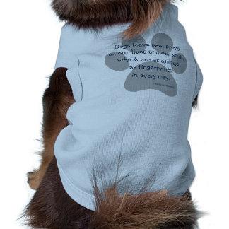 La pata de la licencia de los perros del gris azul playera sin mangas para perro