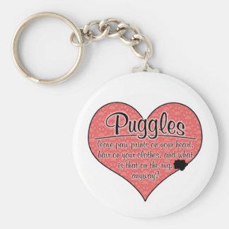 La pata de Puggle imprime humor del perro Llavero Redondo Tipo Pin
