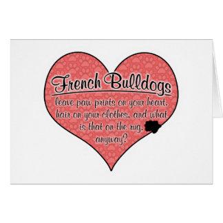 La pata del dogo francés imprime humor del perro tarjeta