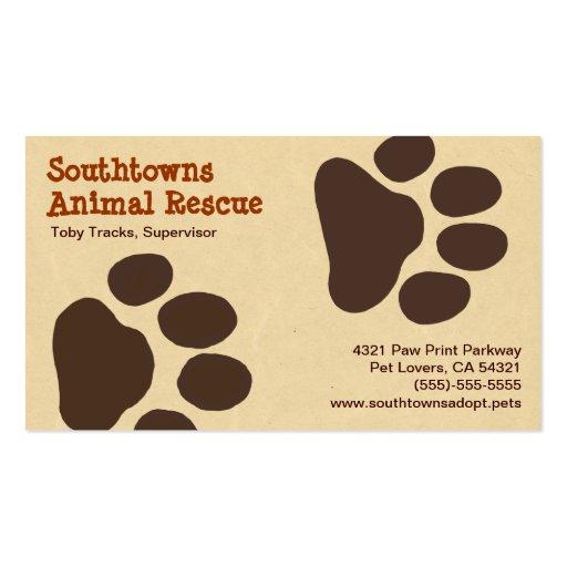 La pata del mascota sigue la tarjeta de visita ani