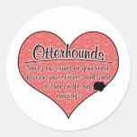 La pata del Otterhound imprime humor del perro Pegatina Redonda