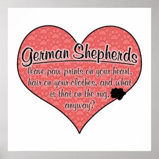 La pata del pastor alemán imprime humor del perro póster
